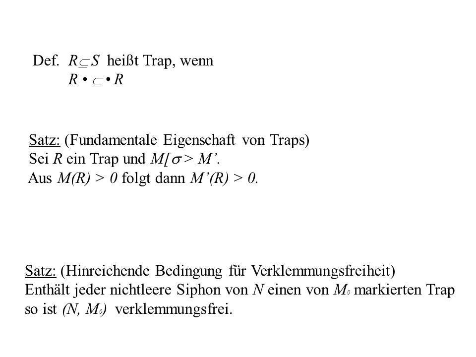 Def. R S heißt Trap, wenn R •  • R. Satz: (Fundamentale Eigenschaft von Traps) Sei R ein Trap und M[ > M'.